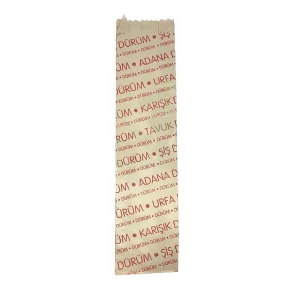 Dürüm kese kağıdı 8x35x4 cm ebatında 5 kg'lık pakette. Ürün LVC kağıttan imal edilmiştir, ürün tavuk dürüm, şiş dü