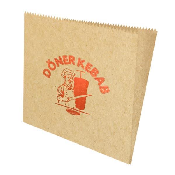 Hamburger kese kağıdı 15,5×15 cm ebatta, 20 kg'lık pakette. 1 kg yaklaşık 350-375 adet. Ürün şamua kraft kağıttan üretilmiştir