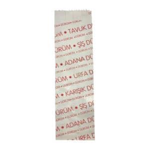 Dürüm kese kağıdı 8x26x4 cm ebatında 5 kg'lık pakette. Ürün LVC kağıttan imal edilmiştir, ürün tavuk dürüm, şiş dü