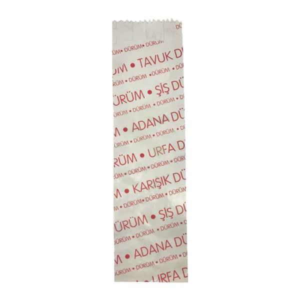 Dürüm kese kağıdı 7,5x28x4 cm ebatında 5 kg'lık pakette. Ürün LVC kağıttan imal edilmiştir, ürün tavuk dürüm, şiş