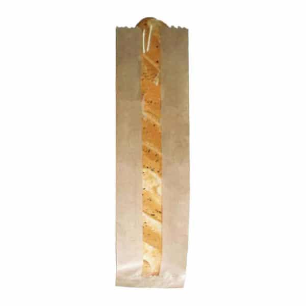 Pencereli kese kağıdı baget ekmek 54x11x5,5 cm ebatında 5 kg'lık ve 10 kg'lık pakette, ürün kraft renktedir ve esmer kağıttan üretilmiştir.