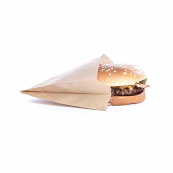 Tost hamburger poşeti 10×12 cm ebatta, 2000 adetli pakette, ürün şamua kraft kağıttan üretilmiş olup, düz kraft renk