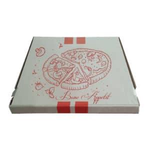 28x28x3,5 cm pizza kutusu 100 adetli pakette ve standart baskılı görsel, gıdayla temasa uygun E dalga kartondan üretilmiştir