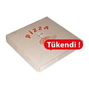 21x21x3,5 cm pizza kutusu 100 adetli pakette ve standart baskılı görsel, gıdayla temasa uygun 300 gr krome kartondan üretilmiştir.
