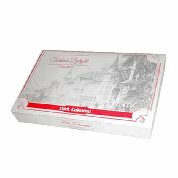 Lokum kutusu 10x19x3 cm ebatta 100 adetli pakette ve 350 gr'lık kutudur, ürün standart baskılı nostalji görünümlü