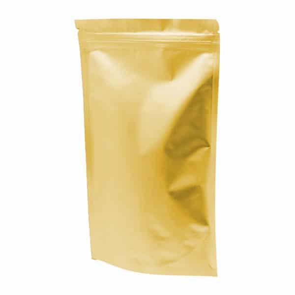 Kilitli kese torbası alüminyum gold 8,5×14,5×2,5 cm ebatında 250 adetli, 2000 adetli pakette.