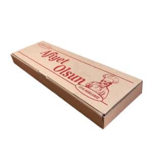 Pide kutusu 13,5x42,5x3,5 cm ebatta 100 adetli pakette, ürün standart baskılı görselde, kraft renkte ve gıdayla temasa uygundur.