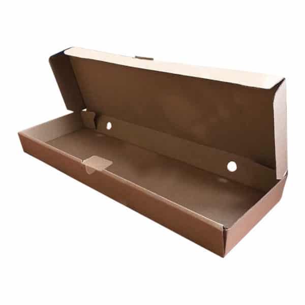 Pide kutusu 13,5×42,5×3,5 cm ebatta 100 adetli pakette, ürün standart baskılı görselde, kraft renkte ve gıdayla temasa uygundur.