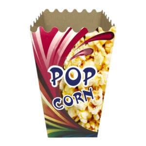 Popcorn kutusu orta boy 6,5x9x19 cm ebatında 500 adetli ve 5000 adetli pakette. Ürün gıdayla temasa uygun kartondan üretilmiştir.