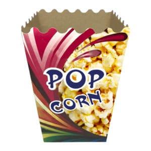 Popcorn kutusu büyük boy 11x13x21 cm ebatında 500 adetli ve 5000 adetli pakette. Ürün gıdayla temasa uygun kartondan üretilmiştir.