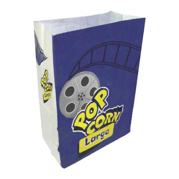 Popcorn kese kağıdı large boy 15x28x8 cm ebatında, 500 adetli ve 5000 adetli pakette. Ürün gıdayla temasa uygun beyaz kağıttan üretilmiştir.