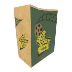 Popcorn kese kağıdı midi boy 15x20x8 cm ebatında, 500 adetli ve 5000 adetli pakette. Ürün gıdayla temasa uygun esmer kağıttan üretilmiştir.