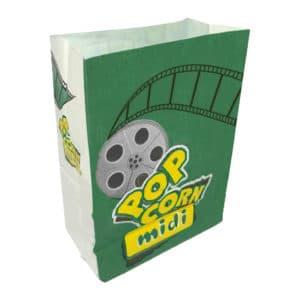 Popcorn kese kağıdı midi boy 15x20x8 cm ebatında, 500 adetli ve 5000 adetli pakette. Ürün gıdayla temasa uygun beyaz kağıttan üretilmiştir.