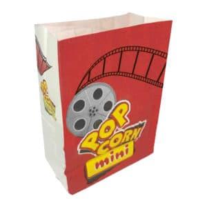 Popcorn kese kağıdı mini boy 12,5x18x7 cm ebatında, 500 adetli ve 5000 adetli pakette. Ürün gıdayla temasa uygun materyalden üretilmiştir.