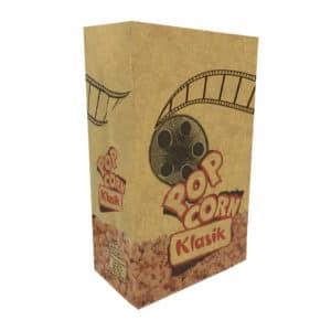 Klasik model popcorn kese kağıdı 10,5x16x6 cm ebatında, 500 adetli ve 5000 adetli pakette. Ürün gıdayla temasa uygun materyalden ütetilmiştir.