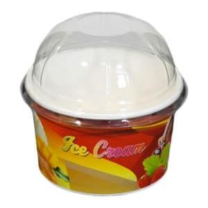 Karton dondurma kabı 230 cc, ürün standart baskılı, kapak dahil ve 50 adetli pakette, ürün gıdayla temasa uygun kartondan üretilmiştir