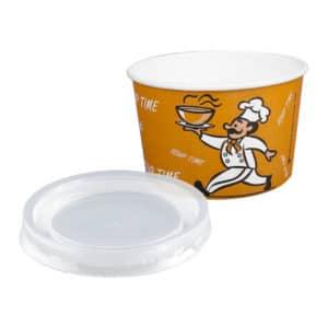 Karton çorba kasesi 16 Oz, ürün standart baskılı, kapak dahil ve 50 adetli pakette, baskıda görsel farklılık gösterebilir.