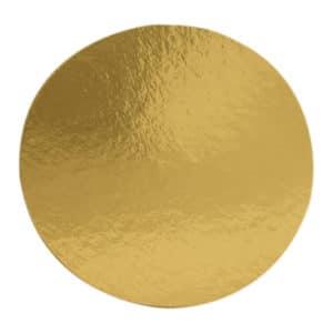 Pasta altı 26 cm çap, 100 adetli pakette, ürün gold renktedir ve gıdayla temasa uygun kalın kartondan üretilmiştir