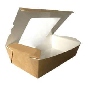Pencereli menü box büyük boy kraft 12x20x5 cm ebatta, 50 adetli pakette.