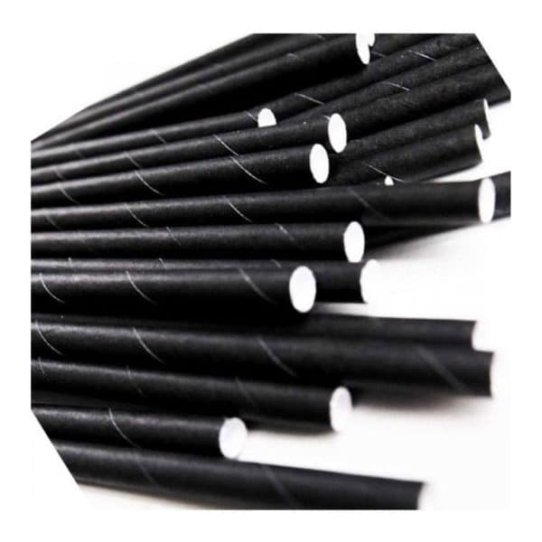 Kağıt pipet 10 mm çapında ve 200 mm uzunluğunda, 15 adetli pakette, gıdayla temasa uygun materyalden üretilmiştir ve düz siyah renktir.