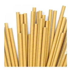 Kağıt pipet 8 mm çapında ve 200 mm uzunluğunda, 15 adetli pakette, gıdayla temasa uygun materyalden üretilmiştir ve kraft renktir