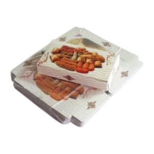 Baklava kutusu 500 gr'lık 21,5x12,5x4 cm ebatta, 100 adetli pakette, ürün gıdayla temasa uygun kartondan üretilmiştir