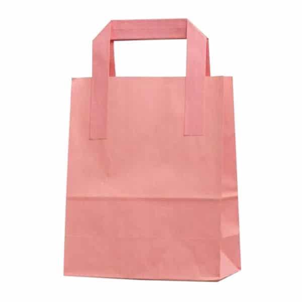Dıştan kulplu pembe renk 18x9x22 cm kağıt çanta 50 adetli veya 500 adetli paketlerde