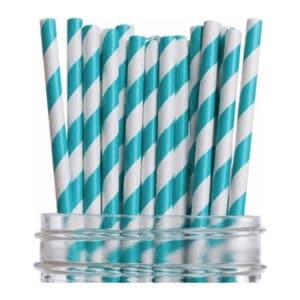 Kağıt pipet 6 mm çapında ve 260 mm uzunluğunda, 25 adetli pakette ve gıdayla temasa uygun materyalden üretilmiştir ve çizgi desenlidir