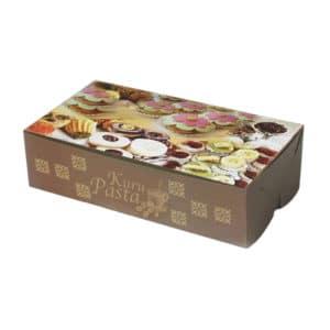 Kuru pasta kutusu 500 gr'lık 22x12x6 cm ebatta, 100 adetli pakette, ürün gıdayla temasa uygun kartondan üretilmiştir