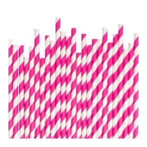 Kağıt pipet 6 mm çapında ve 195 mm uzunluğunda, 25 adetli pakette ve gıdayla temasa uygun materyalden üretilmiştir ve beyaz üzerine diagonal pembe çizgili desendedir.