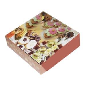 Kuru pasta kutusu 1000 gr'lık 22x21,5x6 cm ebatta, 100 adetli pakette, ürün gıdayla temasa uygun kartondan üretilmiştir