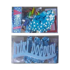 Doğumgünü seti, 1 adetli pakette, mavi ve pembe renk seçenekleriyle