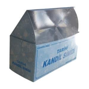 Kandil simidi kutusu 17x8x8 cm ebatta, 250 adetli pakette, ürünün içi metalize kaplama ve gıdayla temasa uygun kartondan üretilmiştir.