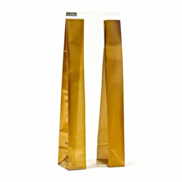 Kalın gold renk çizgili şeffaf poşet küçük boy, 100 adetli pakette