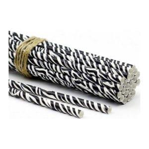 Kağıt pipet 6 mm çapında ve 195 mm uzunluğunda, 25 adetli pakette ve zebra desenlidir