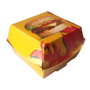 Hamburger kutusu büyük boy 13x13x8 cm ebatta, 200 adetli pakette, ürün ambalajı alevli hamburger görselindedir ve gıdaya uygun materyalden üretilmiştir.