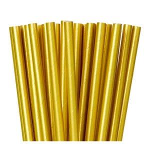 Kağıt pipet 6 mm çapında ve 195 mm uzunluğunda, 25 adetli pakette ve gıdayla temasa uygun materyalden üretilmiştir ve gold metalik renktedir.