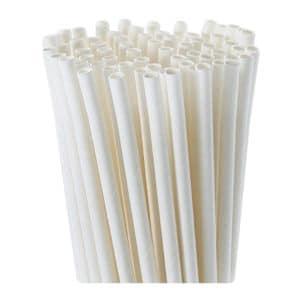 Kağıt pipet 6 mm çapında ve 195 mm uzunluğunda, 25 adetli pakette ve gıdayla temasa uygun materyalden üretilmiştir