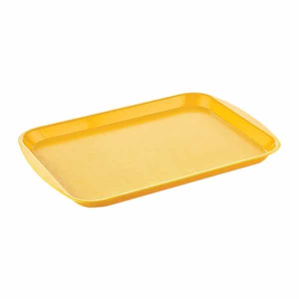 Sarı fastfood tepsisi büyük boy 32×44 cm ebatta, 1 adetli ve 30 adetli paketlerde ve sarı renktedir.