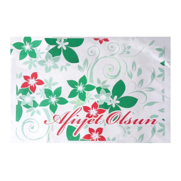 Tepsi kağıdı 27×38,5 cm ebatta, 500 adetli pakette, ürün gıdayla temasa uygun kağıttan üretilmiştir ve beyaz zemin üzerine çiçek görselli