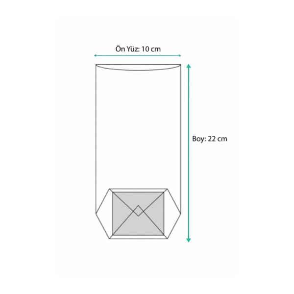 Turuncu puantiyeli pencereli küçük boy şeffaf poşet, 100 adetli pakette