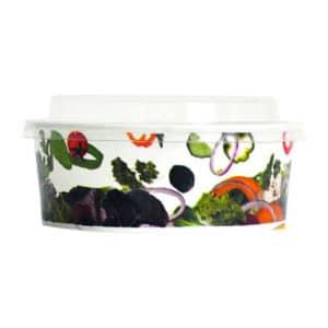 Karton salata kasesi 500 cc, ürün 500 adetli kolide salata desenli görseldedir.
