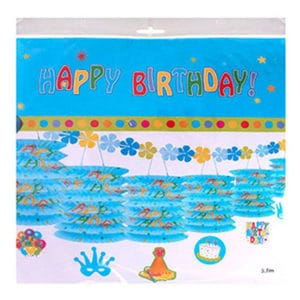 Happy Birthday Sıralı Fener Süs Mavi