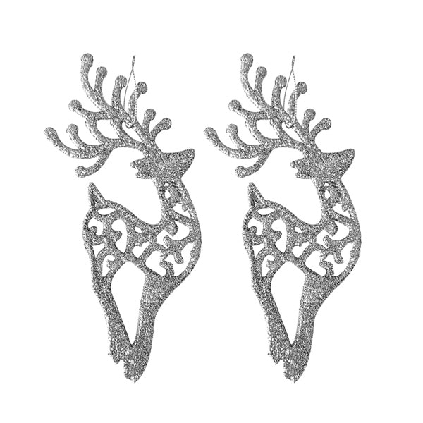 _0010_Yılbaşı Ağacı Geyik Asma Süs 6 x 14cm Gümüş 6lı