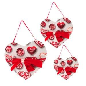 Hediyelik Beyaz Kırmızı Kalp Desenli Kutu 3 lü Set