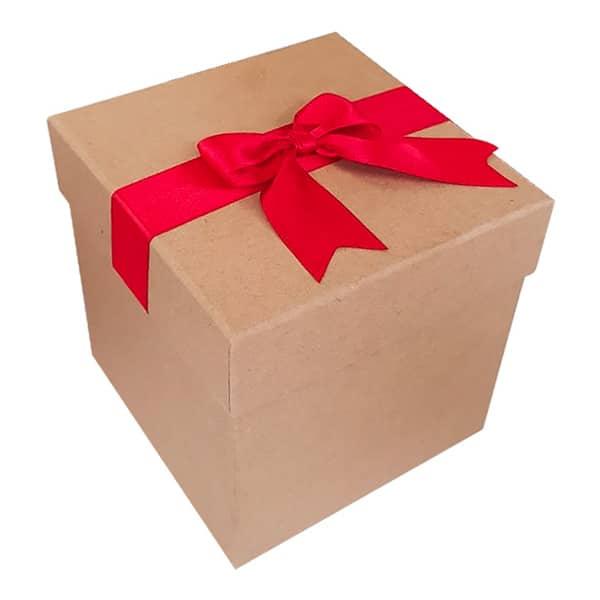 Kırmızı Kurdeleli Hediye Kutusu 10.5×10.5×11.5 cm