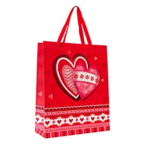 Kırmızı Simli Kalp Çiçekli Karton Hediyelik Çanta 3D 26cmx32cm 1 Adet