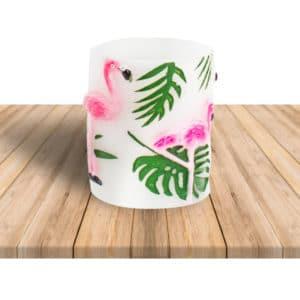 Flamingo Temalı Kütük Mum 8 x 10cm 1 Adet