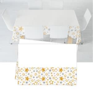 Beyaz Yıldızlar Temalı Plastik Masa Örtüsü 120x180cm 1 Adet