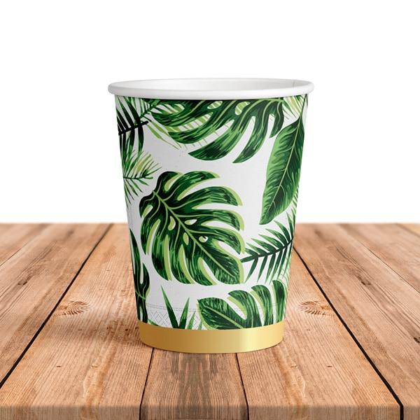 Tropikal Yeşik Yapraklar Temalı Karton Bardak 200cc-8oz 8li
